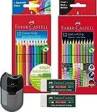 Faber-Castell Buntstift Sonderfarbset, Colour Grip (Komplett Set) 12 Etui Standardfarben, 12er Etui...