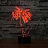 Tianyifengg 3D-LED-7 Farbe-Fernbedienung-Nachtlicht-Palme Form Tischlampe Mode Schlafzimmer Licht...