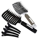 Lictin 2 PCS Haarbürste Wildschweinborste mit 4PCS Haar Klammer Bürste für Dünnes Haar...
