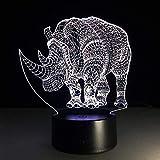 Fußball Lampe 3D Nachtlicht Rhinoceros 7 Farbe 3D Lampe Led Nachtlichter Für Kinder Touch Usb...