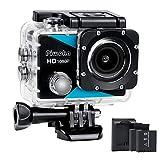 Piwoka Sport Kamera 1080P, Ultra HD 12MP Wasserdicht Action Cam, 170  Weitwinkel Unterwasser Action...
