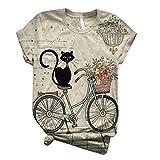 AFFGEQA Sommer Tops Damen T-Shirt Tierdruck Tops Katzendruck Blusen Kurzarm Shirt Rundhals Casual...