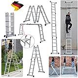 Alu Mehrzweckleitern 4.7M Gerüst Leiter mit Pattform Multigerüst Leiter 4x4 Sprossen, bis 150 kg...