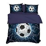 AYMAYO Kids - Kinder-Bettwäsche-Set 135x200 cm Fussball-Motiv Bettbezug und Kissenbezüge Set...