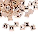 GOLDGE 100 Stück Scrabble Buchstaben Holz Buchstabe Fliesen zum Spielen, Lesen für Vorschule...