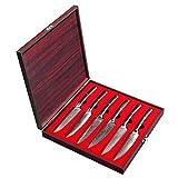 Sunnecko Steakmesser Set, Damaststahl Steakmesser 6 teilig 13cm Damastmesser Japanischer VG10 Cored...