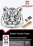 100 Blatt schwarzes Kohle Transferpapier Graphitpapier mit Prägestift-Set und Druckbleistift für...