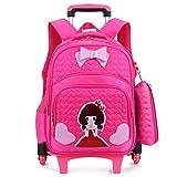 Schulrucksack für Kinder Großer atmungsaktiver Rucksack mit 2 Rädern,...