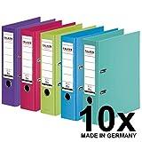 Original Falken 10er Pack Chromocolor Premium-Ordner. Made in Germany. Kunststoffbezug auen und...