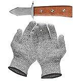 Set mit Austernmesser und Schnittfeste Handschuhe Austernöffner und Schnittschutzhandschuhe für...