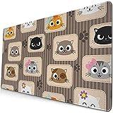 Patchwork-inspiriertes Muster Entzückende Kitty Gaming-Mausunterlage, erweiterte große Mausmatte,...