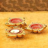 TIED RIBBONS Diwali Diyas für Dekoration, 4 Stück, große Größe, Tondiyas, handgefertigt und...