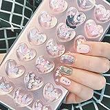 HUIL Künstliche Nägel Zarte 3-Farben-Liebesmuster UV-Kunstnagel Japanische super süße Braut...