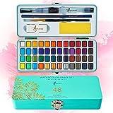 ARTISTRO Wasserfarben-Set, tragbar, Kunst-Set, 48 lebhafte Farben mit 10 Blatt Aquarellpapier,...