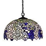 Tiffany-Stil Beleuchtung Deckenpendel LED-Licht 16 Zoll Breite Buntglas-Pendelleuchte für Esszimmer...