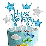 Happy Birthday Tortendeko Geburtstag, Blau Kuchendeko Girlande Cake Torten Kuchen Topper, Silber...