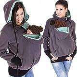 SMACO Damen Umstands-Fleece-Kapuzenpullover Knguru-Pullover Multifunktional abnehmbar Baby...