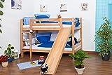 Kinderbett Etagenbett Jonas Buche Vollholz natur massiv mit Rutsche inkl. Rollrost - 90 x 200 cm,...