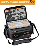 Savage Gear System Box Bag S (15x36x23cm) - Angeltasche inkl. 3 Angelboxen & Ziplock Bags,...