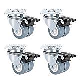 4 Stück Doppelrollen Lenkrollen Queta Transportrollen Rasen mit Bremse, Jede Tragkraft 100 kg