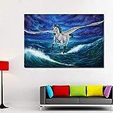 ganlanshu Groes Pegasus magisches Pferd fliegt ber das Meer Leinwand Kunst Malerei Arbeit Poster...