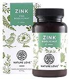 NATURE LOVE Zink - 25mg - 365 Tabletten im Jahresvorrat. Premium: Laborgeprüftes Zink-Bisglycinat...