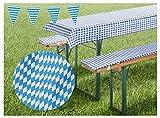 heimtexland ® Biergarnitur-Auflagen Set Bierbank-Polster Tischdecke Bayrische Raute Bavaria Blue...