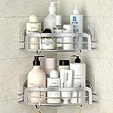 STEUGO Dusche Eckregal, Badregal Shower Shelf Ohne Bohren mit 4 Haken, Dusche Aufbewahrung, SUS304...