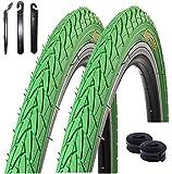 2 x Roverstone Fahrradreifen grün 28x1,4 Zoll (700x35c) + 2 Schläuche SV inkl. Reifenheber