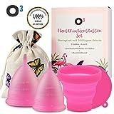 O Menstruationstasse // Set aus Gre S und L mit Reinigungsbehlter und Baumwollbeutel // Menstrual...