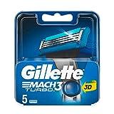 Gilette Mach3 Turbo Rasierklingen für Männer, 5 Stück