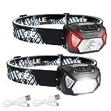LE Stirnlampe LED Wiederaufladbar, 2000 Lux Superhell Kopflampe mit Rotlicht und 6 Lichtmodi, IPX6...