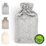 Blumtal Wrmflasche mit weichem Bezug - 1,8L Wrmeflasche, Bettflasche, Wrmflasche Kinder, grau