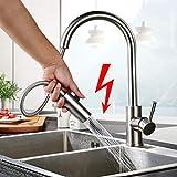BONADE Ausziehbare Niederdruck Küchenarmatur mit Brause 360° drehbare Niederdruckarmatur aus 304...