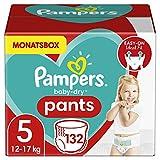 Pampers Windeln Pants Größe 5 (12-17kg) Baby Dry, 132 Höschenwindeln, MONATSBOX, Einfaches An-...