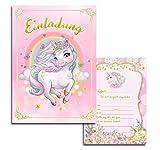 10x Kinder Einladungskarten Einladung Kindergeburtstag Mädchen Einhorn Unicorn Pegasus Geburtstag...