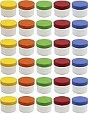 30 Salbendöschen, Creme-döschen, Salbenkruke flach, 35ml Inhalt mit farbigen Deckeln - MADE IN...