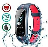 LATEC Fitness Armband mit Pulsmesser, IP68 Wasserdicht Fitness Tracker Farbbildschirm...