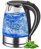 Wasserkocher Edelstahl Glas | 1,7 Liter | 2000W | Blaue LED Innen-Beleuchtung | 360 Grad |...