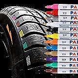 Qbisolo 12 Stücke Reifenfarbe Marker Pens, wasserdichte Permanent Pen Reifenstift Marker Stift für...