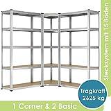 Juskys 3er Metall Regalsystem   1 Eckregal & 2 Lagerregale   15 Böden aus MDF Holz   2625 kg  ...