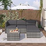 Polyrattan Garten Lounge Set, Sitzgruppe Lounge, Rattan Gartenmöbel Set mit Sofa, Glastisch und...