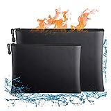 Feuerfeste Dokumententasche 2 Stück, A4 Groß Geld Taschen Feuersichere wasserdichte Tasche Silikon...