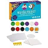 Smowo® Mega Bügelperlen Set mit 10.000 Perlen - 15 Farben - inkl. Steckplatten und Zubehör - XXL...