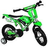 TW24 12 Zoll Kinderfahrrad im Motorrad Design Fahrrad mit Hilfsräder Kinderrad Motobike grün