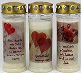 Kerzen Junglas 3 Stück Grablichter, Grabkerzen, 3er Set mit Spruch und Motiv Herz, Größe 21x7,5...