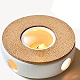 TAMUME Klassisches Porzellan Teekanne Wärmer mit Sicher zu benutzen Korkständer für Teekanne, Tee...