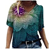 Damen Oberteile T-Shirts,Casual Mode Bluse Frauen Plus Size Flowers Drucken Tuniken V-Ausschnitte...
