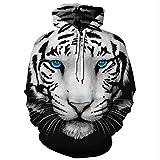 YIJIAN 3D Weiß Tiger Kopf Digital Gedruckt Mit Kapuze Sweatshirt,Mit Kapuze...