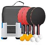 Powcan Tischtennis-Set 4 Tischtennisschläger/Schläger + Ausziehbare Tischtennisnetz + 8 Bälle,...